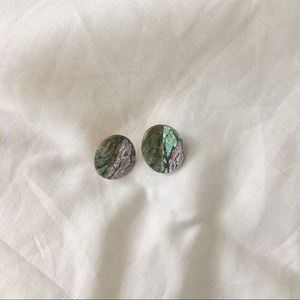 Vintage Mother Of Pearl Crazed Earring Studs